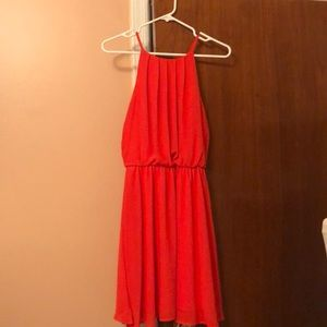 Francesca's Collection bright coral flowy dress